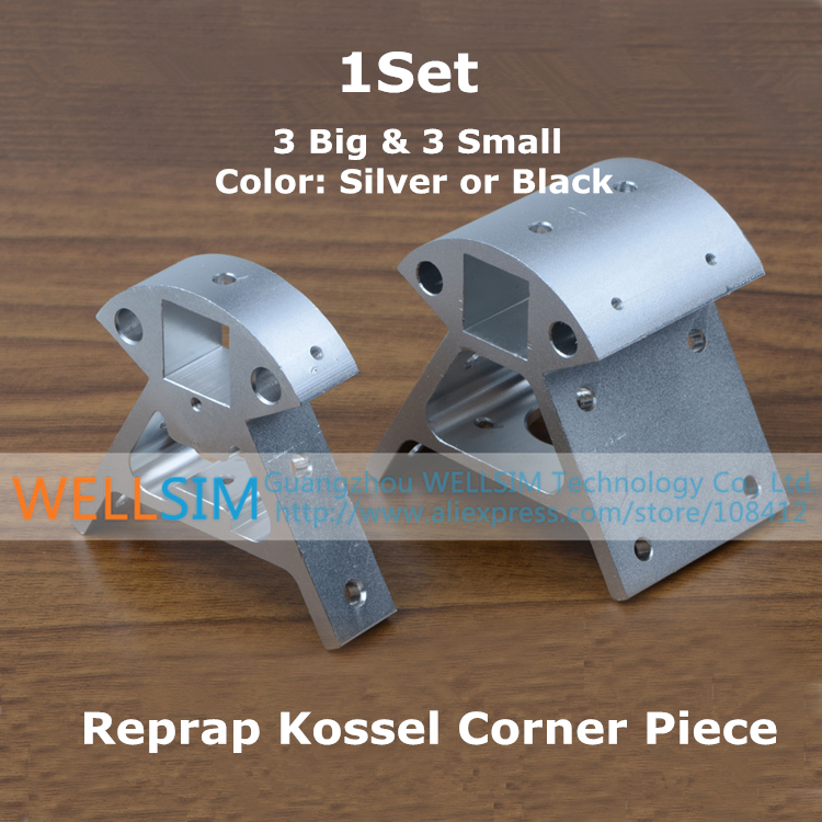 1Set Reprap Kossel All-metal Aluminum Corner Piece Frame Vertical Base Delta Top Bottom Vertex Big And Small 3D Printer Parts