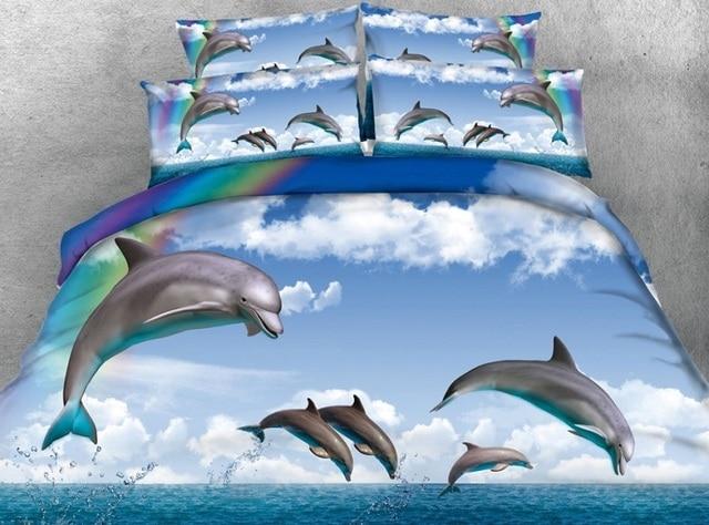 3d dolphin bedding set sea animal quilt duvet cover rainbow bed sheets linen bedspread super king