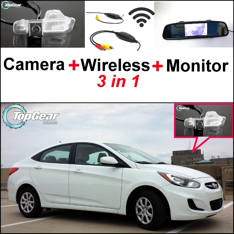 3 in1 Special Camera + Wireless Receiver + Mirror Monitor DIY Back Up Parking System For Hyundai Accent RB Sedan wireless pager system 433 92mhz wireless restaurant table buzzer with monitor and watch receiver 3 display 42 call button