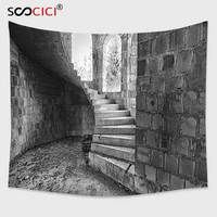 Cutom Tapestry Wall Hanging,Rustic Circular Medieval Brick Staircase Vacant Castle Architecture Art Print Black White