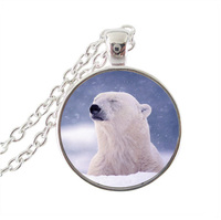 Polar Bear Jewelry Snow Animal Pendant Necklace Glass Cabochon Pendant Silver Chain Choker Neckless Women Summer