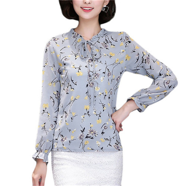 b3fc739aeb5 Long Sleeve Chiffon Office Shirts Womens Boho Tops 2017 Summer Ladies  Floral Blouse Femme 3XL 4XL Plus Size Elegant Tunic Tops