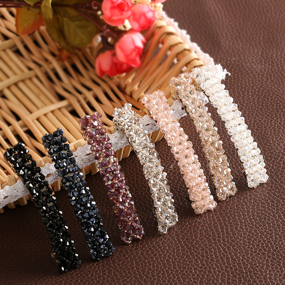 1Pcs Bling Crystal Hairpins   Headwear   For Women Girls Rhinestone Hair Clips Pins Barrette Styling Tools Accessories 7 Colors