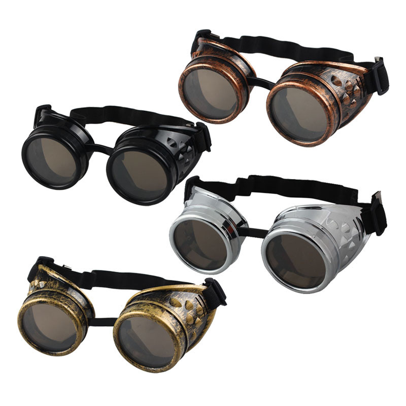 Gothic retro glasses Steampunk Goggles Sunglasses Round Cosplay Cyber Goggles Glasses Vintage Shield Eyewear Punk Glasses(China)