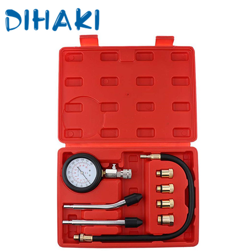 Compression Tester Pressure Gauge Tester Kit For Motor Auto Petrol Gas Cylinder Motorcycle Pressure Gauge Compression Tester