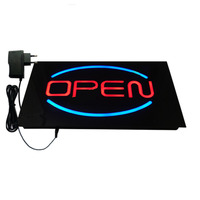 New OPEN SIGN Epoxy Resin Glow Card Luminous Tags Animated Motion Display Flashing On Off Switch