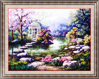 Needlework DIY Ribbon Cross Stitch Sets For Embroidery Kit Garden Lake Flowers Landscape Bands Embroidery Wall