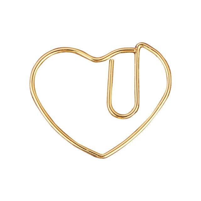 الذهب الحب القلب الفولاذ المقاوم للصدأ ورقة كليب الذهبي دبوس كليب جميل Kawaii القرطاسية دبابيس ورق الذهب المرجعية Kawaii اكسسوارات