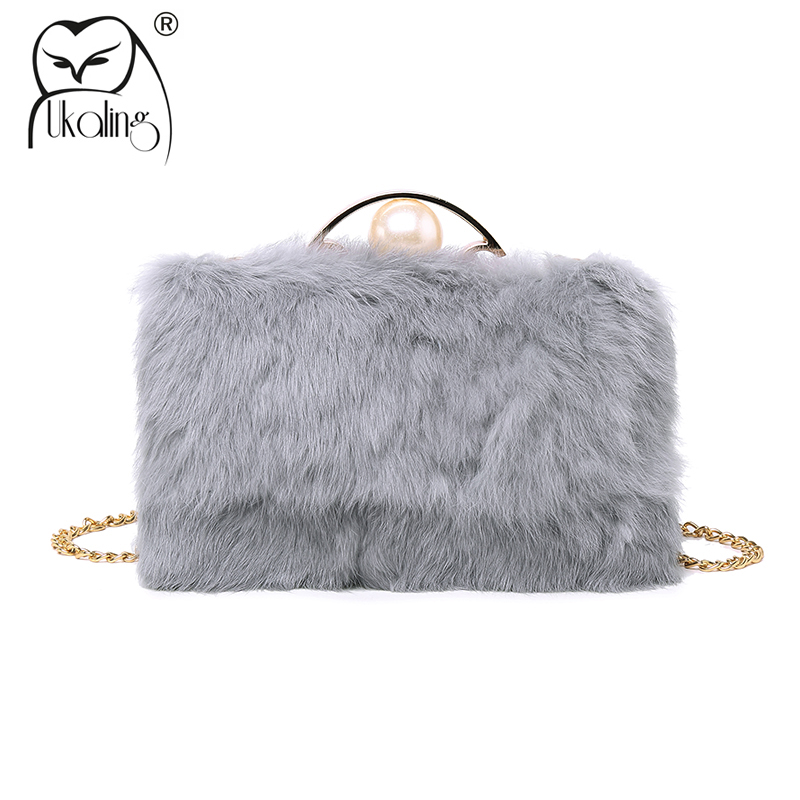 UKQLING 2018 Faxu Fur Winter Bag Women Clutch Bags for Evening Hand Bag Lady Purse Women Clutches with Long Chain small transparent acrylic clutch perfume bottle bags lady evening clutch bags chain clutches women crossbody bag
