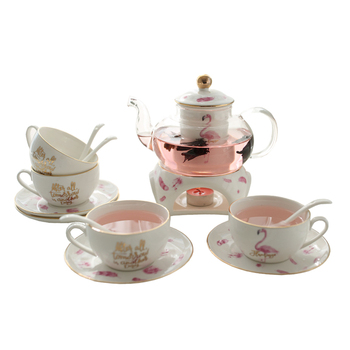 Flamingo Flower Teapot Set tea service glass Tea Pot Cup tableware British Afternoon Tea kettle boiling Weeding decoration Gift serveware