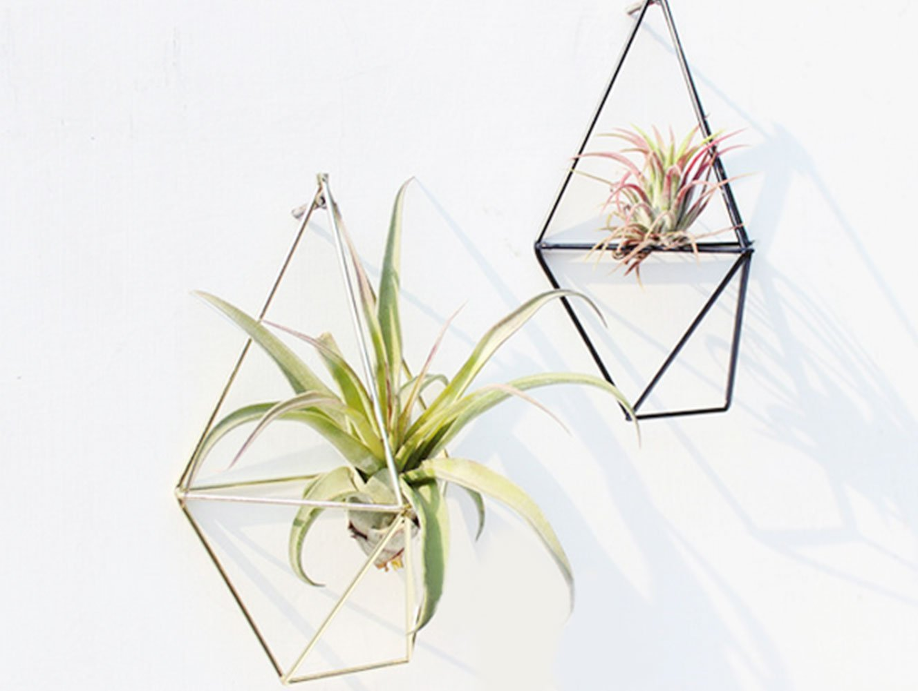 Hanging Planter Storage Rack Vase Geometric Wall Decor Metal Pendants Flower Pots Shelf  ...