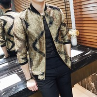 British Style Jackets Men Fashion 2018 Spring Summer Sunscreen Clothing Wave Pattern Slim Fit Thin Bomber