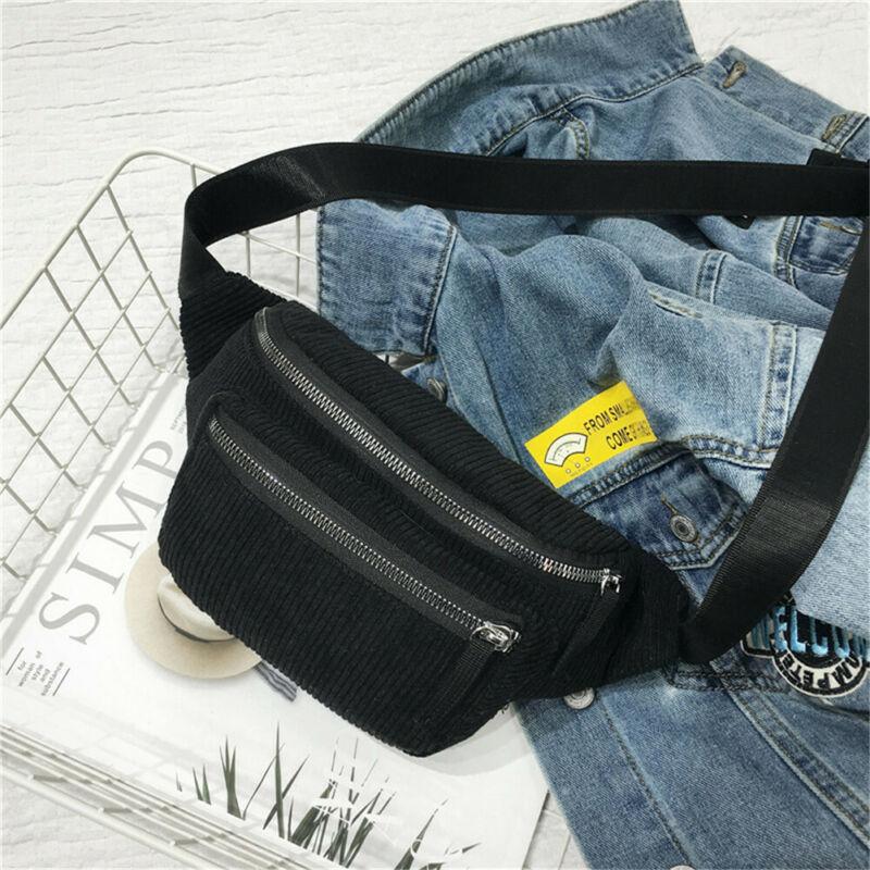 Belt Purse Fanny-Pack Waist-Bag White Womens Pouch Phone-Key Small Black Corduroy