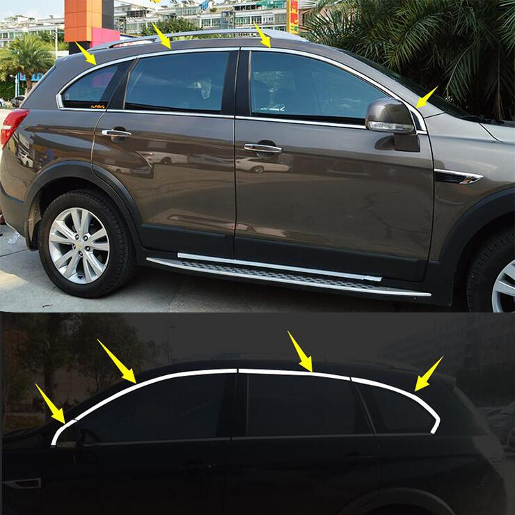 car-styling case For Chevrolet Captiva 2008-2017 8pcs Stainless Steel Door Window Frame Sill Molding Trim car styling цена в Москве и Питере