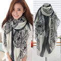 Lady's Warm Vintage Long Soft Cotton Voile Print Scarves Shawl Wrap Cozy Scarf Stole For Woman