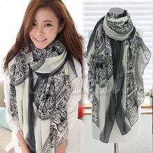 Lady's Warm Vintage Long Soft Cotton Voile Print Scarves Shawl Wrap Cozy Scarf Stole For Woman casual poppy print voile scarf