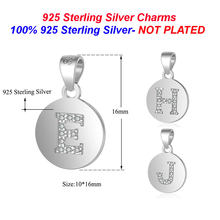 100% 925 Sterling Silver Initial Name Charms for Necklace Jewelry Vnistar Wholesale Capital English letter Charm Pendants(China)