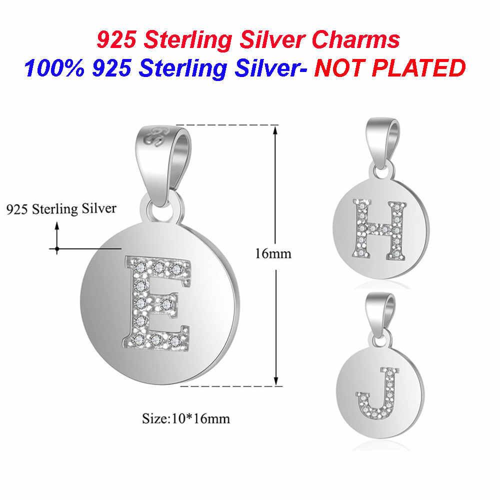 100% 925 srebro nazwa początkowa Charms dla naszyjnik biżuteria Vnistar hurtownia kapitał angielska litera Charm zawieszki