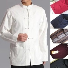 Весенне-осенний мужской Китайский традиционный хлопковый костюм Тан с длинным рукавом, Wu Shu Tai Chi, топ шаолин, кунг-фу, крылышко, рубашка, костюмы