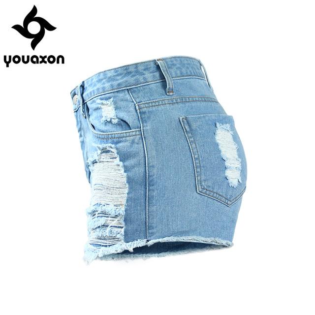 Women`s Celebrity Style High Waist Ripped True Denim Short Femme Shorts For Woman Distressed Jean