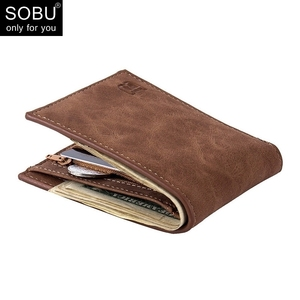New Men Wallets Small Money Purses Wallets New Design Dollar Price Top Men Thin Wallet With Coin Bag Zipper Wallet L027(China)