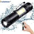 3800LM XML-Q5 + COB светодиодный фонарик Портативный супер яркий регулируемый фонарик использование AA 14500 батарея водонепроницаемый в жизни освеще...