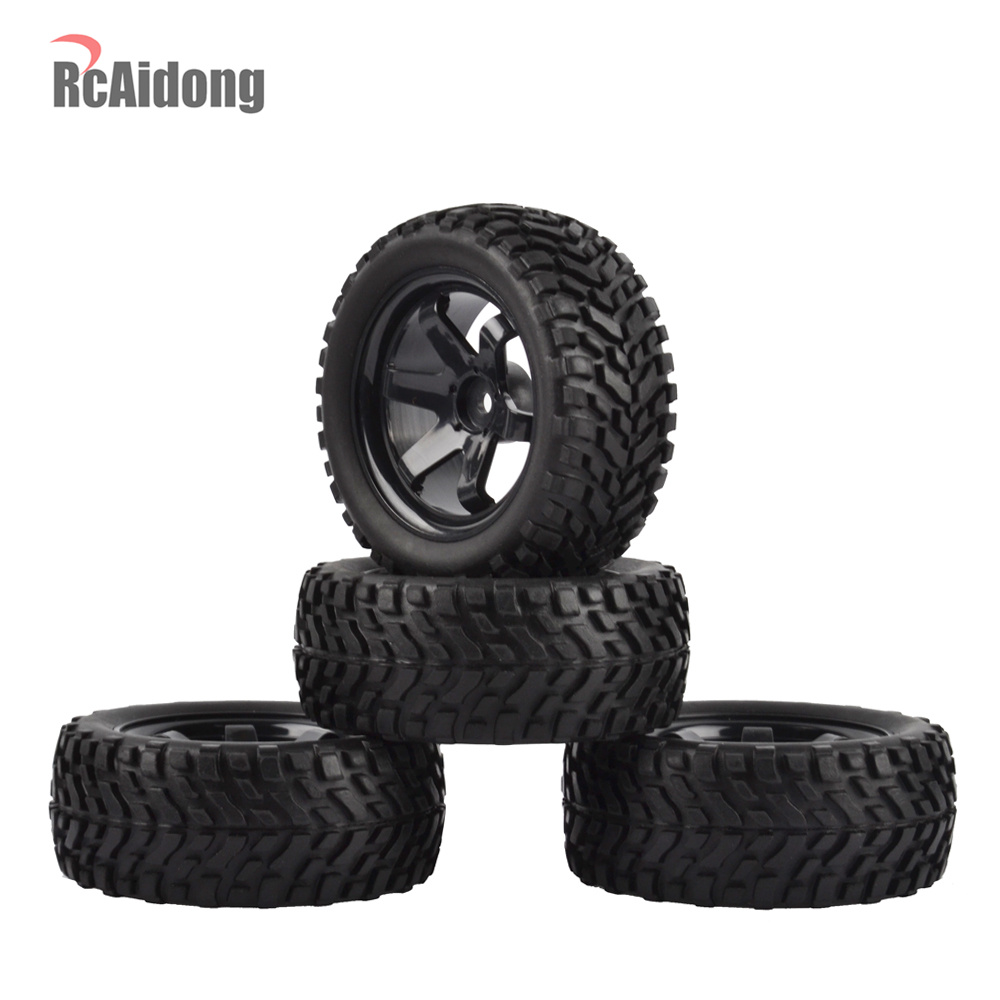 1:10 RC Rally Car Tires Rubber tires & Wheel Rims for Tamiya HSP HPI Kyosho 4WD 1:10 1:16 RC On Road Car