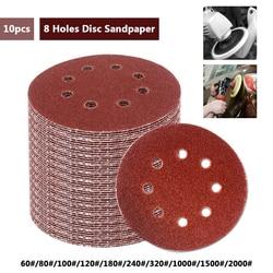 10 sztuk 5 Cal 125mm okrągły papier ścierny z ośmioma otworami dysku arkusze szlifierskie Grit 60 2000 hak i pętli tarcza szlifierska polski|round sandpaper|disc polishingsanding discs -