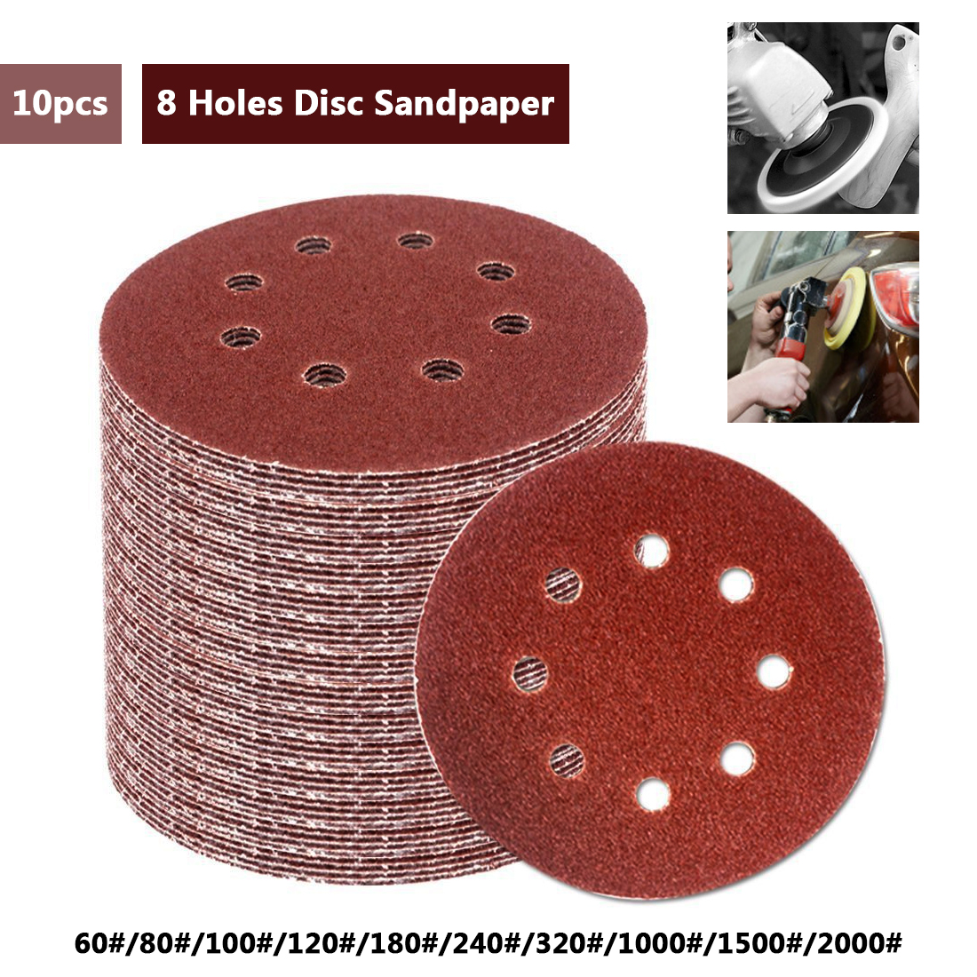 Lija redonda de 10 Uds. De 5 pulgadas y 125mm con ocho huecos, discos de lija, hojas de lija de 60-2000, pulidor de discos de lijado con gancho y lazo