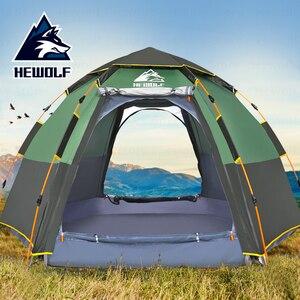 Hewolf Наружная палатка для кемпинга, двухслойная автоматическая палатка, водонепроницаемая, для 5-8 человек, большая палатка для кемпинга, дыш...