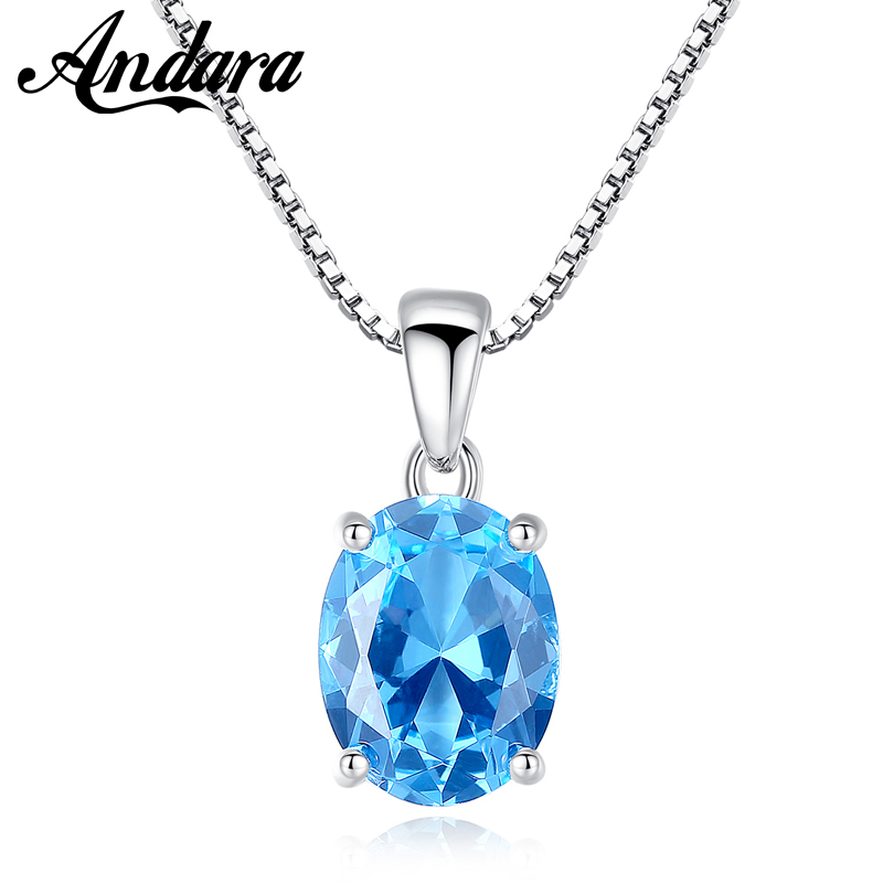 High Quality Classic 925 Sterling Silver Blue <font><b>Crystal</b></font> Zircon Necklaces & Pendants S925 Fine Jewelry image