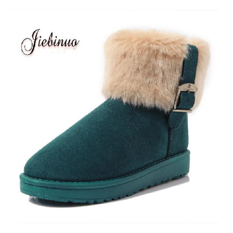 Women Fox Fur Winter Boots Buckle Suede Cheap Women Snow Boots Flat With Creepers Warm Fashion Ankle Boots X677 антиквариат
