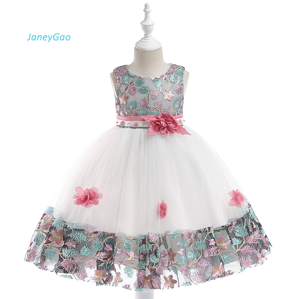 JaneyGao   Flower     Girl     Dresses   For Wedding Party Little   Girl   Pageant Formal Gown Kids Formal Birthday Party   Dress   With Embroidery