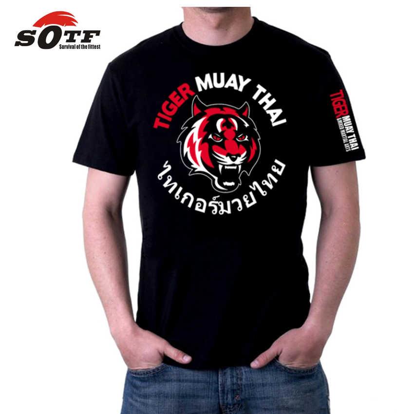 سوياتشيرت الملاكمة التايلاندية SOTF Tiger قميص الملاكمة التايلاندية mma قميص الملاكمة قصيرة mma ملابس الملاكمة المصارعة الفردي ساندا