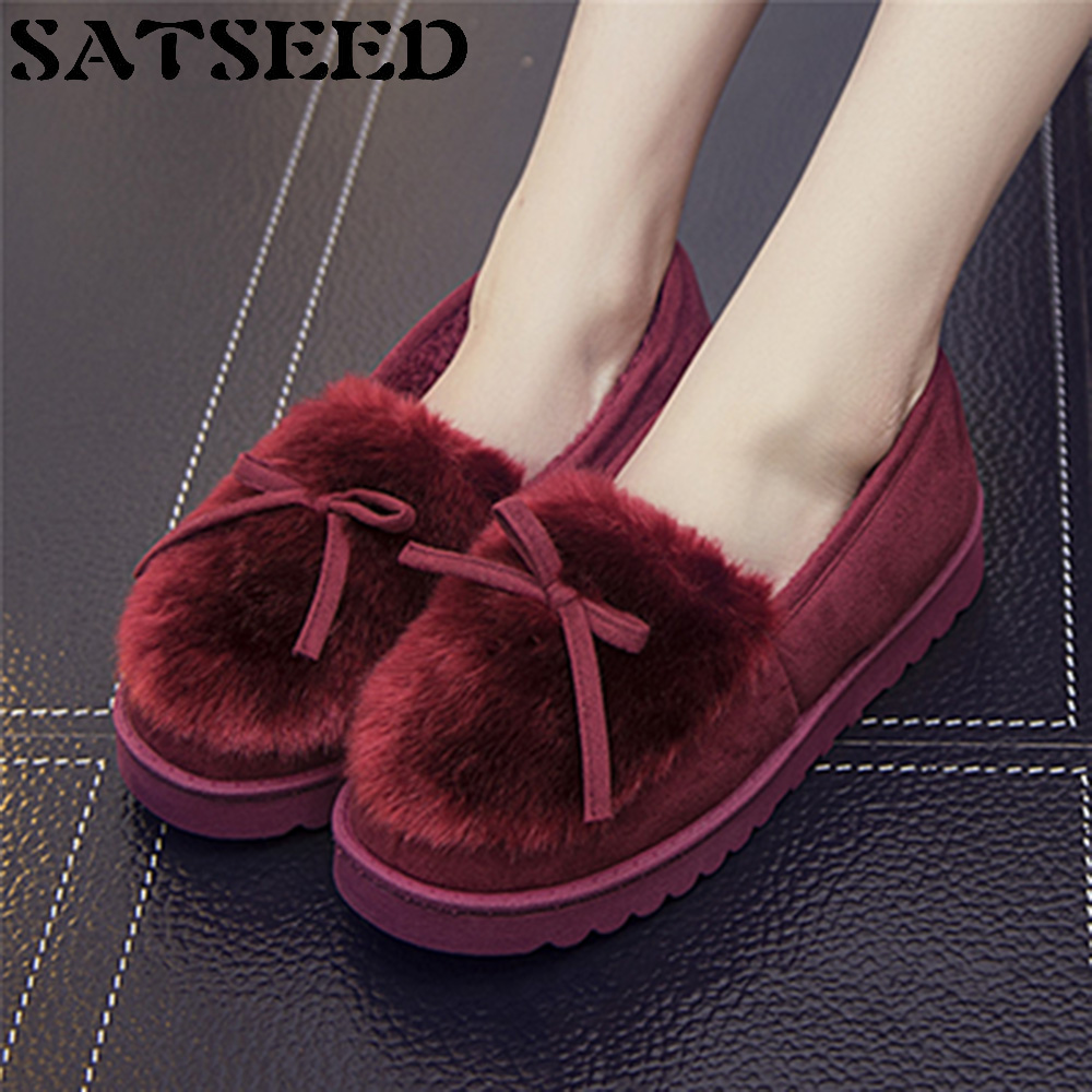 Warm Winter Home Furnishing Female Overshoes Bow Cotton Slippers Anti-skid Shoes Wear Thick Indoor Confinement Flat Fashion New