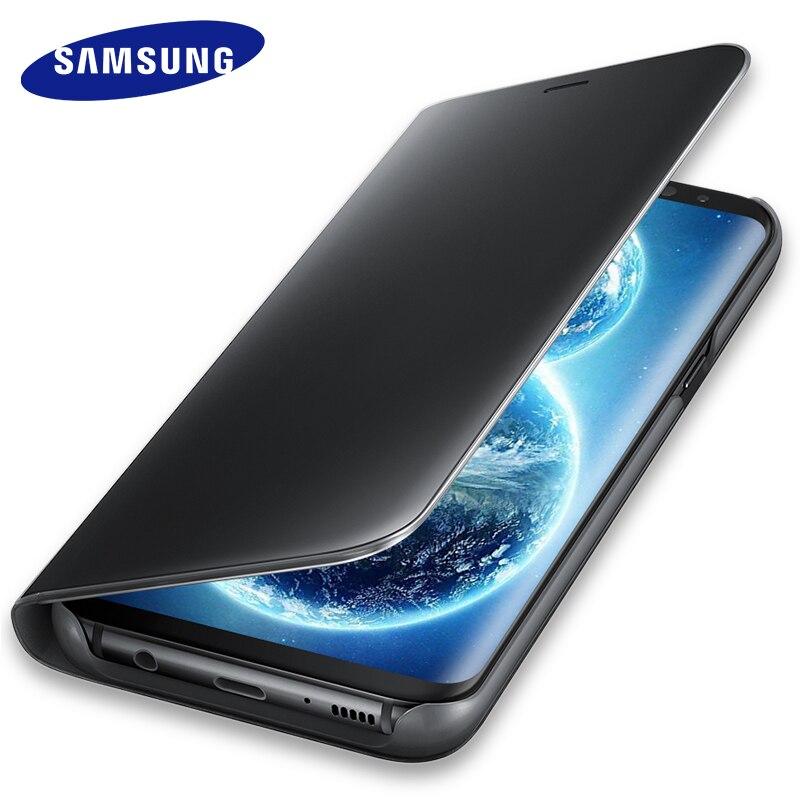 Samsung Galaxy S8 S 8 Plus espejo soporte ventana Flip cubierta 100% Original inactivo inteligente ver teléfono cuero S8 + G9500 G9508