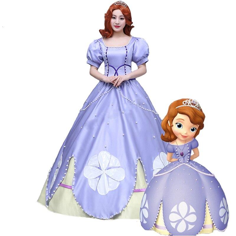 Новые Необычные костюмы для взрослых на Хэллоуин для женщин София первая Принцесса София костюм для косплея фиолетового цвета София платье