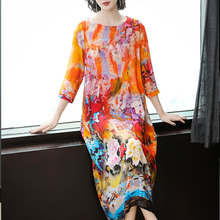 Summer Silk Dress High Quality 2019 Plus Size for Big Women Elegant Vintage Midi Party Dresses Floral Print Chinese Robe Clothes цена и фото