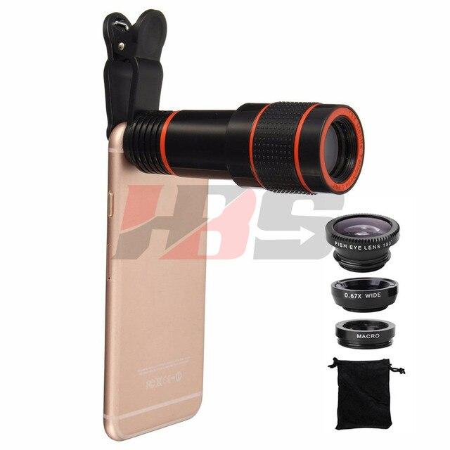 12x Teleobjetivo Zoom Telescopio Con Clips 3 a 1 Lentes de ojo de Pez gran angular macro lentes de teléfono para iphone 5 6 s 7 samsung
