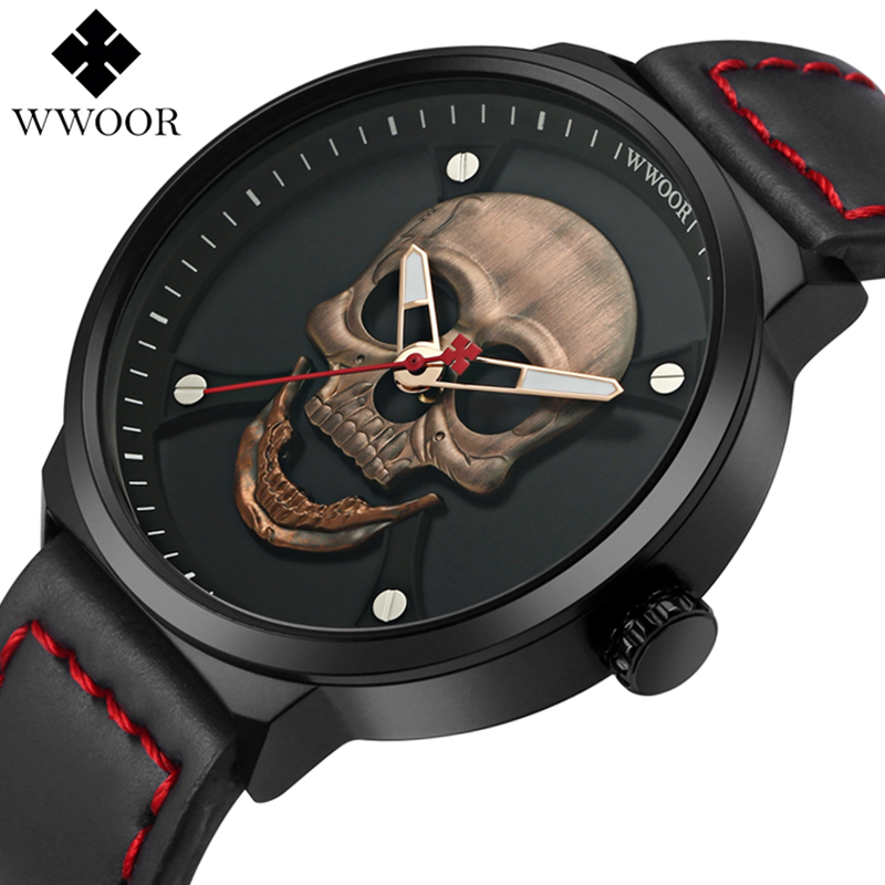 WWOOR Top Brand Luxury Army Military Watches Casual Fashion Men Watches Creative Leather Retro Quartz Clock