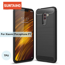 Suntaiho For Xiaomi Pocophone F1 Case Carbon Fiber Shockproof TPU Back Cover Case for Xiaomi Pocophone F1 Card Case Poco F1