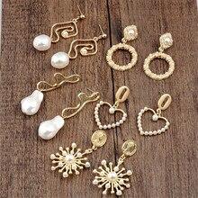New Arrival Gold Color Love Heart Drop Earrings For Women Korean Style Pearl Dangle Earrings Fashion Party Wedding Jewelry A35 цена