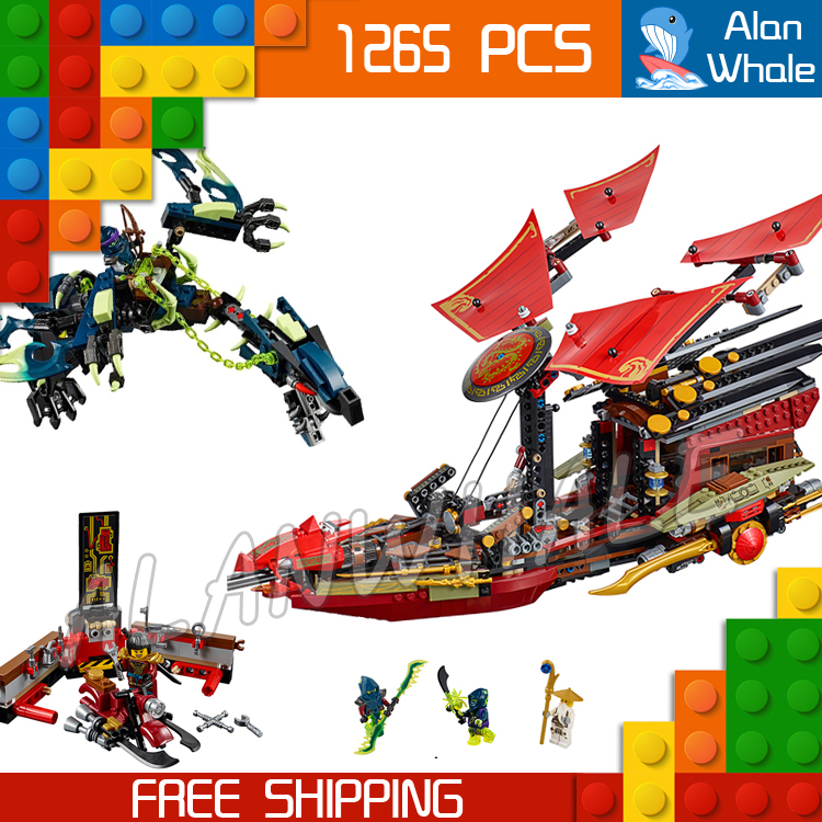 1265pcs Ninja Final Flight of Destiny's Bounty Morro's Ghost Dragon 10402 Figure Building Blocks Toys Compatible With LegoING-in Blocks from Toys & Hobbies