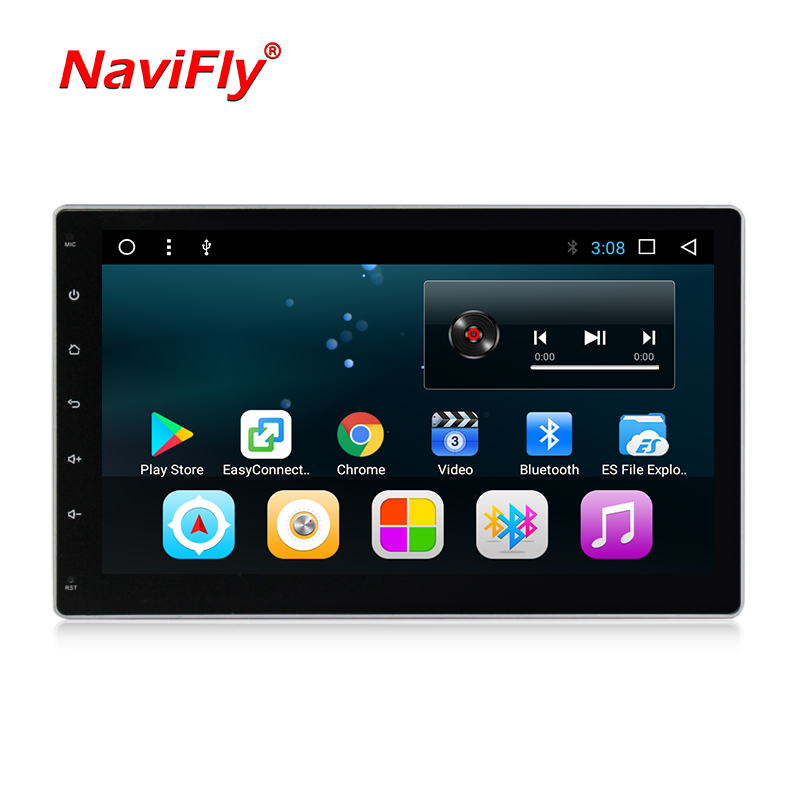 Navi-Fly Android8.1 HD 1024*600 screen Quad core  ROM 16G 2 DIN universal car radio gps with wifi car stereo audio no DVD PLAYER