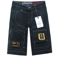 AERONAUTICA MILITARE Short Men Pants With Top Stitching Excellent Trousers Black Khaki Plus Size S XXL