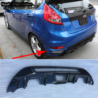 MK7 Поддельные углеродного волокна авто комплект задней части кузова бампер диффузор для форд фиеста MK7 2008 2012
