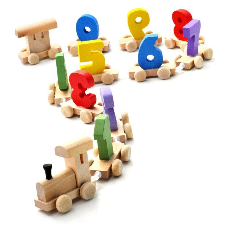 Кэндис Го! Новое поступление красочные 0 ~ 9 цифровой маленький поезд блоки Развивающие деревянные игрушки раннего обучения 1 компл.