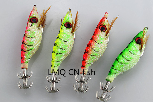 US $5 45 9% OFF|10CM/8 9g wood shrimp luminous squid hook fishing lure  umbrella hook cuttles hook shrimp fishing squid lures Baits jig fish -in