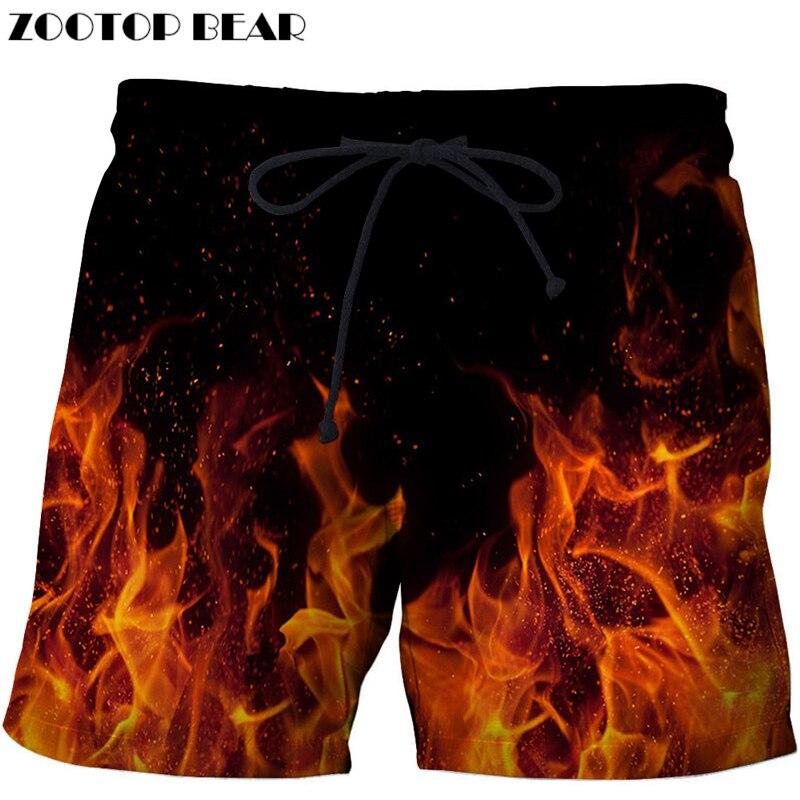 Fire Printed Beach Shorts Men Pants Funny Board Shorts Plage Quick  Shorts Casual Swimwear Streetwear DropShip ZOOTOP BEAR