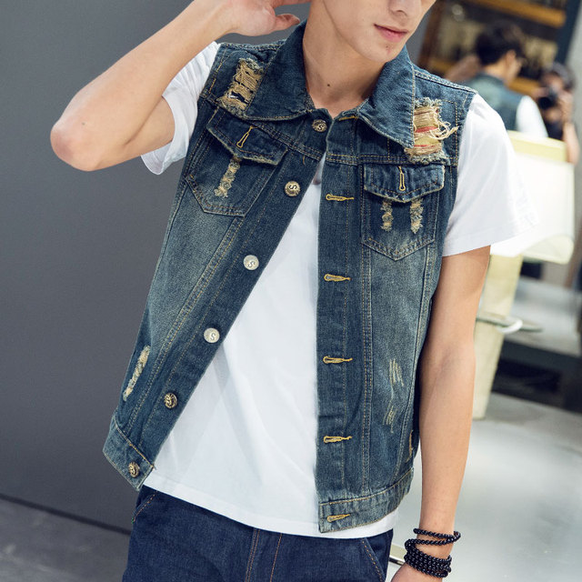 Male denim vest 2017 spring summer rippedcasual  vest slim vest denim sleeveless coat outerwear men's clothing MT17007